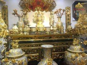Báo giá bộ đồ thờ gia tiên đầy đủ bằng gốm sứ Bát Tràng
