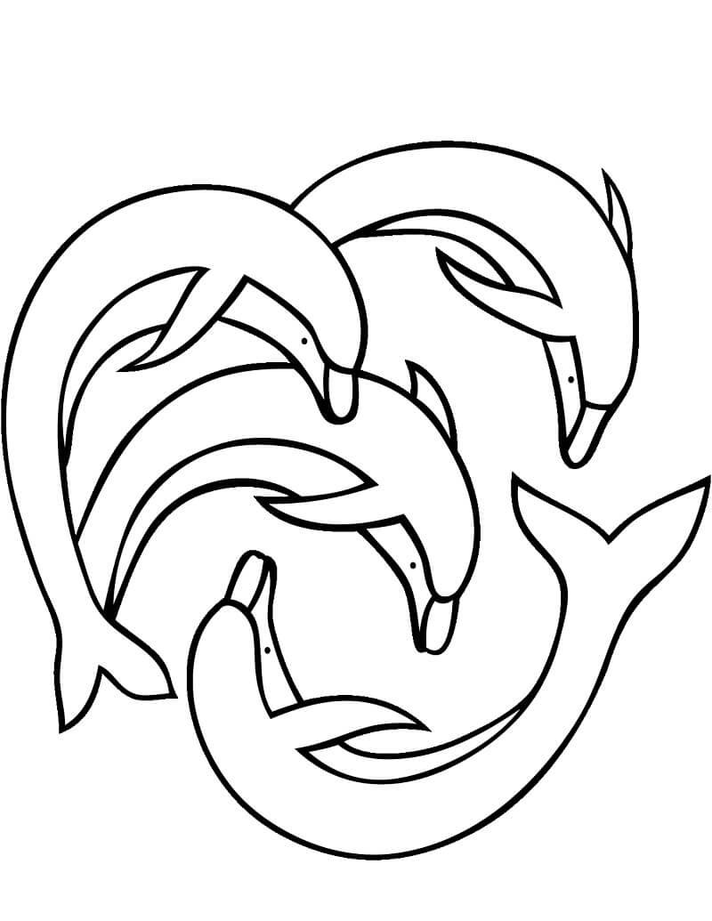 Tranh tô màu 4 Con Cá Heo
