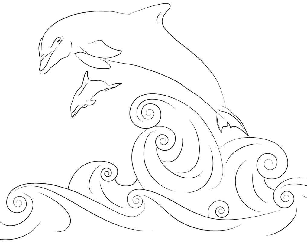Tranh tô màu Con Cá Heo và Sóng Biển