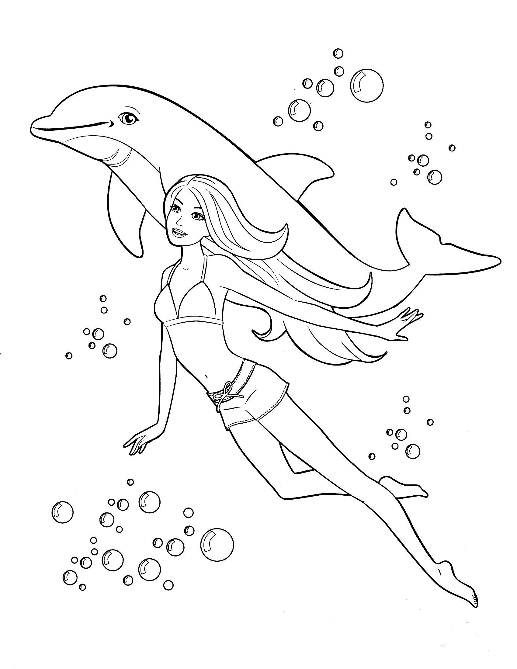 công chúa barbie lặn cùng cá heo