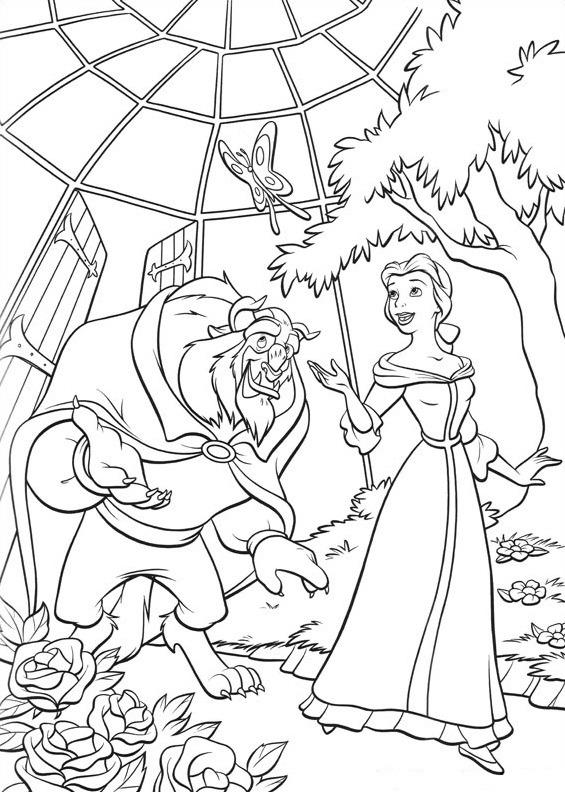 quái vật và belle trong vườn
