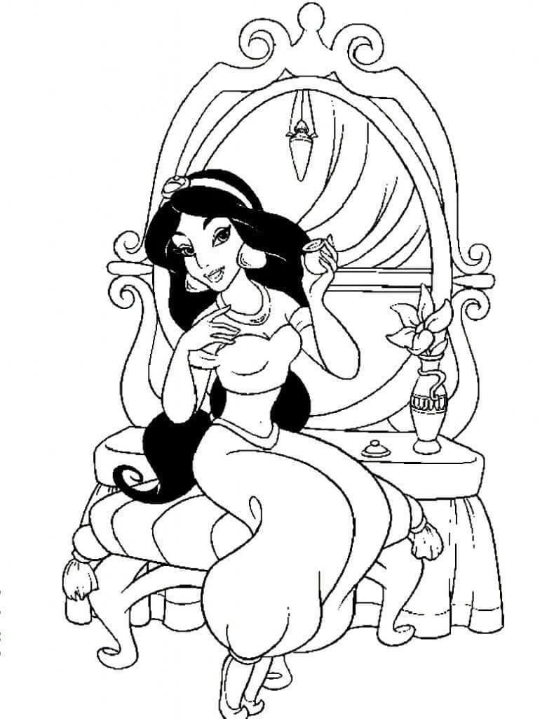 tranh to mau cong chua jasmine ben ban trang diem