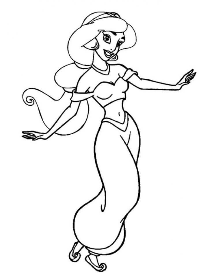 tranh to mau cong chua jasmine vui ve