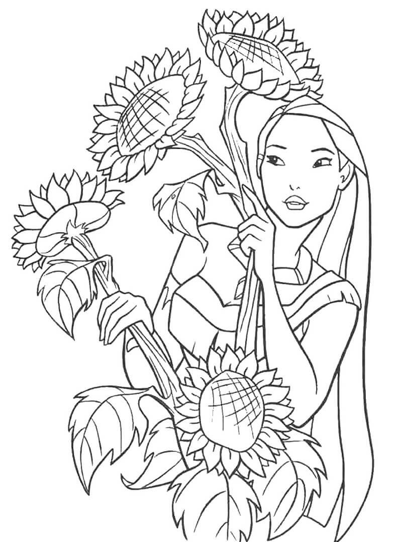 tranh to mau cong chua pocahontas va hoa huong duong