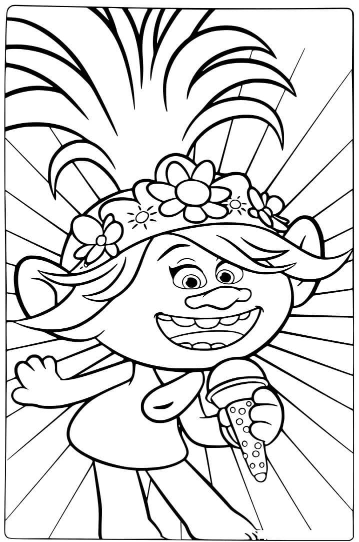 tranh to mau cong chua poppy dang hat
